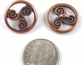 TierraCast Pewter Celtic Buttons-Copper OPEN TRISKELE SPIRAL (2)