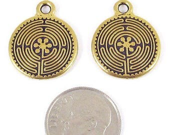 TierraCast Pewter Double Sided Charms-Antique Gold Labyrinth (2)