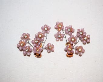 Vintage 1950's Wire Earrings Lavender Flowers Clips