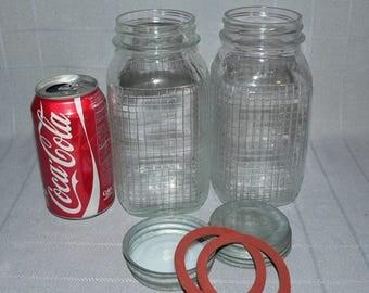 2 Vintage Quart Owens-Illinois Glass Grid Squares Patterned Embossed Mason Canning Jars Zinc Lids