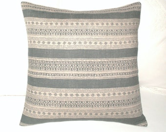 Kate Forman Charcoal Anoushka - Cushion / Throw Pillow Cover - UK Designer Linen - Charcoal Grey / Black Stripes - Urban Chic - 18 x 18