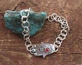 Hamsa evil eye link bracelet, hamsa charm bracelet