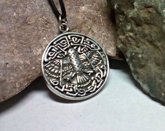 Celtic Raven Pendant Knot-work Amulet in Fine Cast Pewter Old World Symbolic Charm