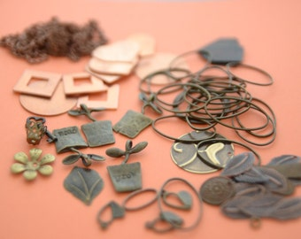 LOT Large Cluster of Mixed Metal Findings and Charms and Chains