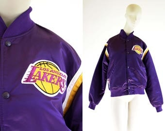 Vintage Lakers Bomber Jacket NBA Licensed Product by Starter Unisex Men's Women's Retro Sports Jacket