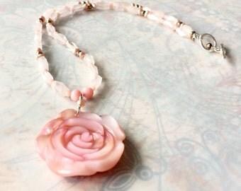 Pink Rose Necklace with Rose Quartz