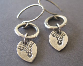 Fine Silver Petal Link Earring, Sterling Silver Handmade Dangle Earrings, Leaf Petal Earrings