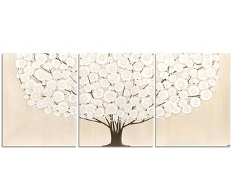 Acrylic Painting Canvas Art of Brown Tree Original Triptych - Large 50x20