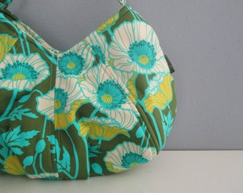 Small Shoulder Bag, Small Green Purse, Floral Shoulder Bag, Pleated Purse, Green Shoulder Bag, Fabric Shoulder Bag