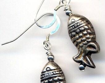SALE Lucky Catch Earrings. Sterling Silver Ear Wire. Fish Earrings. Gone Fishing Earrings. Fun Fisherman Earrings. Fish Jewelry by annaart72