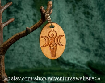 Goddess Keyring - wood laser engraved cut maine made protection charm magic apotropaic magick pagan wicca wiccan triple deity spiral moon