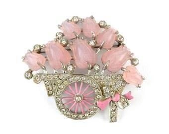 Flower Cart Brooch Rhinestone Pink