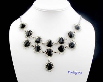 German Agate Necklace Filigree Black Stone