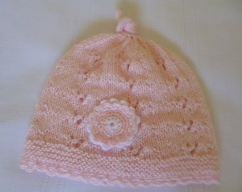 Knitted Baby Hat, Knitted Newborn Hat, Newborn Girl Beanie, Knitted Beanie, Baby Shower Gift, Newborn Gift, Coming Home Hat, Winter  Hat