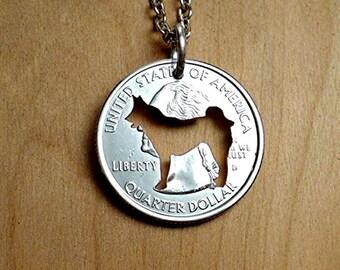 Husky Necklace, Siberian Husky Keychain, Husky Pendant, Dog Key Chain, Cut Coin, Canine, Dog Necklace