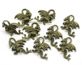 BULK - Dragon Charm- Antique Bronze/Brass - set of 40 charms - #HK1293B