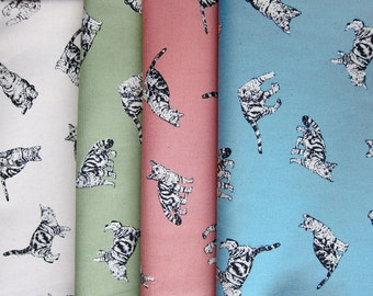 Cat Fabric - Animal Print Fabric - Lightweight Cotton Canvas - Tiger Cats - Half Yard