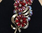 "On sale Beautiful Vintage Garnet Red Rhinestone Floral Brooch, Gold tone, ""Coro"", Large (B8)"
