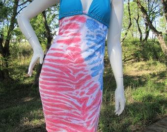 Patriotic tie dye tshirt bikini dress