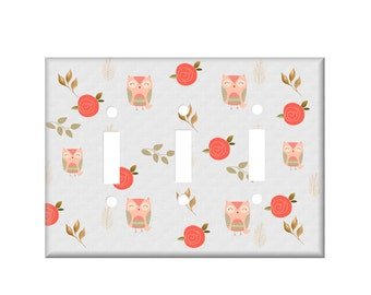 Owl Switchplate Cover - Owl Light Switch Cover  - Woodland switchplate - double switchplate - rocker cover - coral gold tan