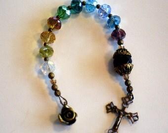 Crystal and Bronze One Decade Catholic Rosary
