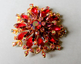Beau Jewels Red Rhinestone Brooch 1950s
