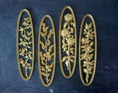 Vintage Set of 4 gold Cut Out Floral Roses retro Wall Hangings Ornate Flowers Hollywood Regency Oval Renaisance Hangings