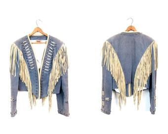 Fringed 60s Suede Jacket Cropped Leather Embellished Military Coat Marching Band STUDDED Punk Rock Bomber Boho Southwestern Medium