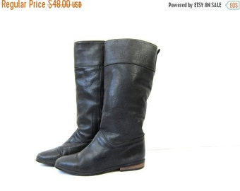 Tall Black Leather Boots Eddie Bauer Insulated Lined Boots Vintage Leather Riding Boots Slouchy Fall Winter Boots Equestrian Womens size 7