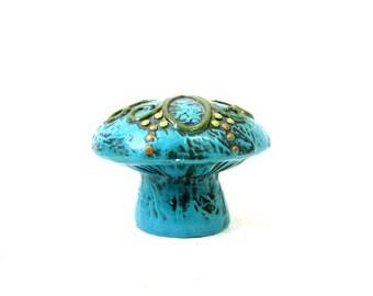 Vintage Fitz Floyd Turquoise Blue Green Mushroom Bank Retro Pig Piggy Bank Figurine money bank Hipster Home Decor