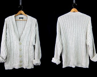 Oatmeal cardigan sweater Hipster button up long Cable Knit preppy Hipster Pocket sweater Men's Size Medium Large