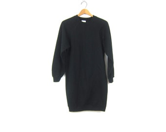 90s Black Sweatshirt Mini Dress Pullover Tunic Top Thin Basic Long Minimal Sweater Hip Hop Casual Dress Women's Size Large