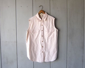 LINEN & COTTON Button Up Tank Top 90s Sleeveless Collared Blouse Minimal Natural Blush Pink Tee Vintage Womens size Medium