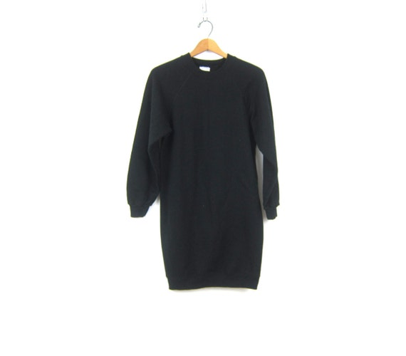 90s Black Sweatshirt Mini Dress Pullover Tunic Top Thin Basic Long Minimal Sweater Hip Hop Casual Dress Women's Size Large