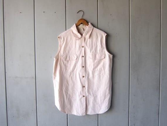 LINEN & COTTON Button Up Tank Top 90s Sleeveless Collared Blouse Minimal Natural Blush Pink Tee Vintage Womens size Medium