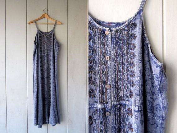 Boho Indian Sun Dress Blue Embroidered Long Festival SunDress Hippie Ethnic Bohemian Slip Dress Floral Maxi Dress DES Womens Medium Large