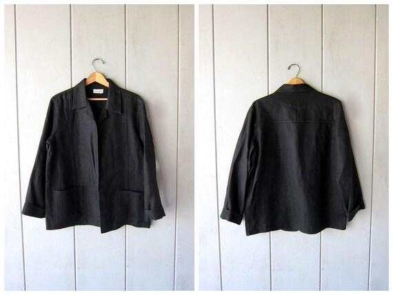 Vintage Modern LINEN Jacket Oversized 90s Black Open Cardigan Coat Preppy Chic Linen Blazer Spring Jacket Womens Medium Large