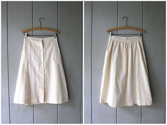 Minimal Cotton Skirt Natural White Midi Skirt Textured Cotton Button Up Spring Summer Skirt High Waist Apron Skirt POCKETS Womens Medium