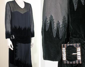 1920s Black Silk Chiffon and Velvet Vintage Dress with Great Rhinestone Buckle SZ L