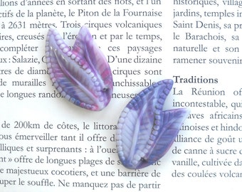 Marbled Purple Leaf Bead Vintage Lucite Leaf Bead Unique tile beading Detailed Leaf