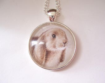 Bunny Rabbit Necklace, Original Miniature Drawing, Rabbit Art Pendant Necklace, Silver Pendant Bunny Jewellery, Pet Bunny Gift