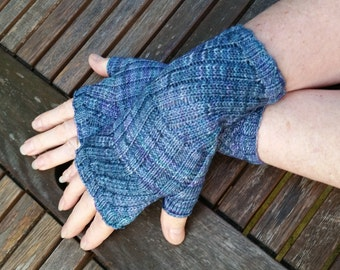 Fingerless Gloves -  Hand  Warmers -  Wrist Warmers. Colourway Azules.  Hand knit.