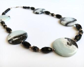 Statement Collar Necklace - Black Mint Green Statement Necklace