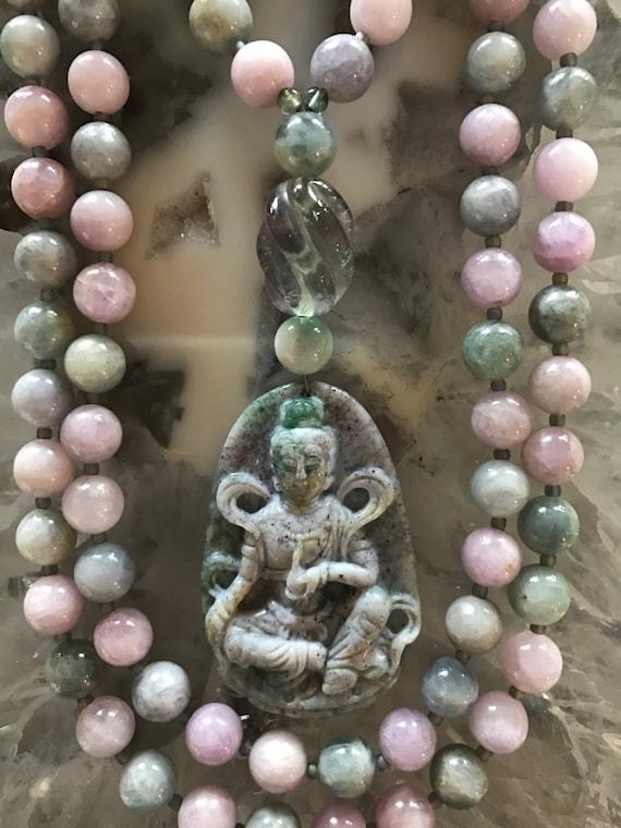 Kunzite and indian Bloodstone Mala/Prayer Beads