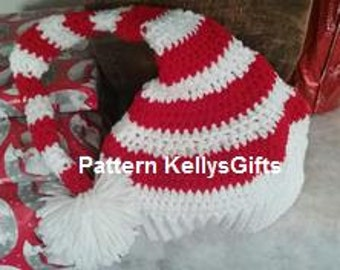 Pattern Striped Crochet Hat, red, green
