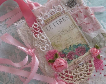 Garden Art  Journal Fabric Book Original Collage Book  Mixed Media Art Journal Shabby Rose Lace Book
