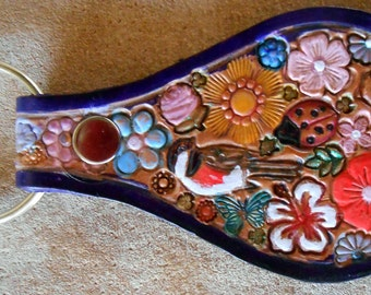 Leather Key Fob with Pastel Flowers Bird Ladybug Chipmunk with Purple Border Made in GA USA OOAK