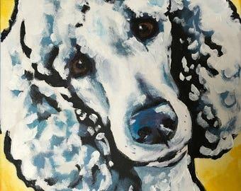 11x14 white standard Poodle PRINT