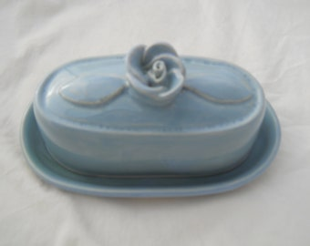 butter dish with rose handle