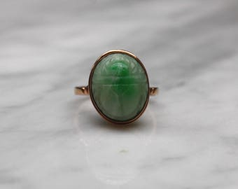 EGYPTIAN SCARAB JADE antique Art Deco circa 1920s Egyptian revival vintage beetle 14k rosegold gold ring size 7